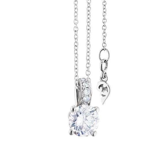 """Collier """"Diamante in Amore"""" 750WG 4-er Krappe, Brillantöse, 1 Diamant Brillant-Schliff 0.70ct TW/vs1 GIA Zertifikat, 5 Diamanten Brillant-Schliff 0.02ct TW/vs1, Länge 45.0 cm, Zwischenöse bei 42.0 cm"""