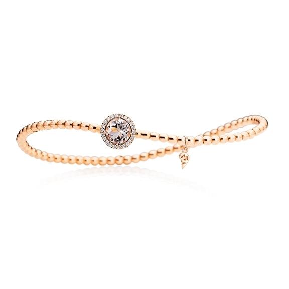 "Armband ""Espressivo"" 750RG, Morganit facettiert 6.0 mm, 22 Diamanten Brillant-Schliff 0.06ct TW/si, Innenumfang 17.0 cm"