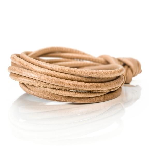 Armband Kalbsleder honig 4-reihig, Ø 3.0 mm, 42.0 cm