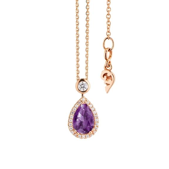 """Collier """"Espressivo"""" 750RG Amethyst medium Tropfen 9.0 x 6.0 mm ca. 1.20ct, 26 Diamanten Brillant-Schliff 0.20ct TW/si, Länge 45.0 cm Zwischenöse bei 42.0 cm"""