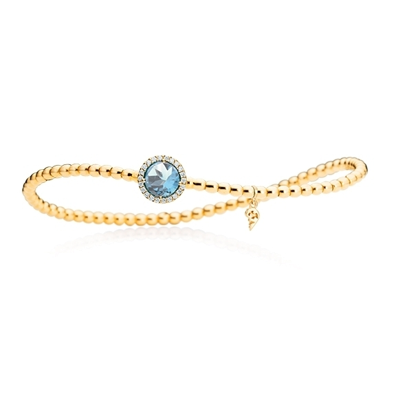 "Armband ""Espressivo"" 750GG, Topas sky blue facettiert Ø 6.0 mm ca. 0.90ct, 22 Diamanten Brillant-Schliff 0.06ct TW/si1, Innenumfang 17.0 cm"
