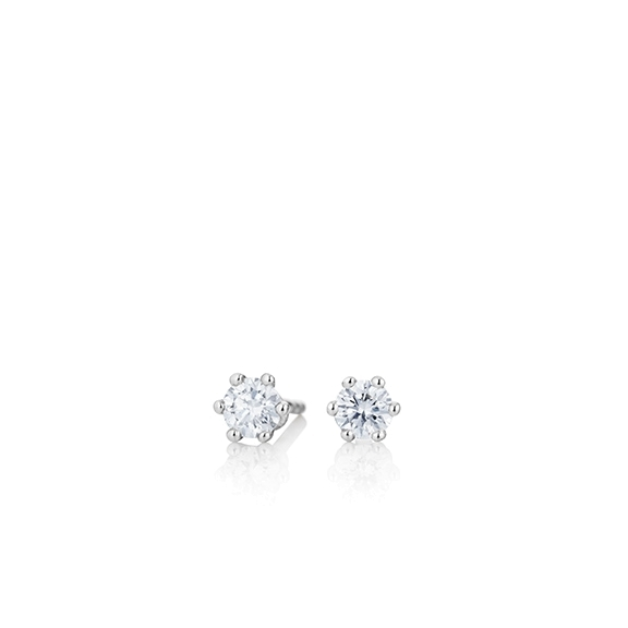 "Ohrstecker ""Diamante in Amore"" 750WG 6-er Krappe, 2 Diamanten Brillant-Schliff 0.2ct TW/vs1"