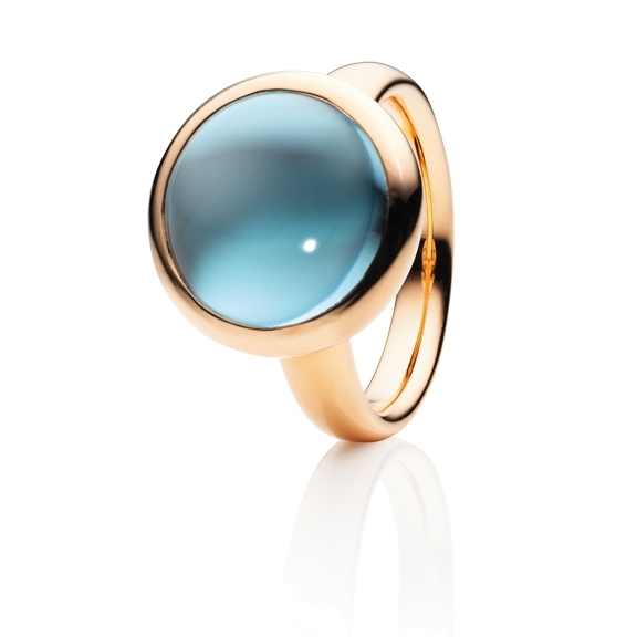 "Ring ""Velluto"" 750RG, Topas sky blue Cabochon Ø 14.0 mm ca. 13.0ct"
