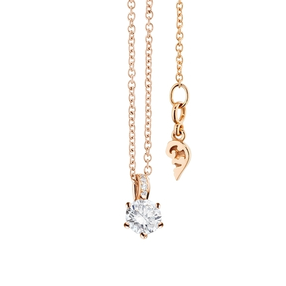 "Collier ""Diamante in Amore"" 750RG 6-er Krappe, Brillantschlaufe, 1 Diamant Brillant-Schliff 0.25ct TW/vs1, 5 Diamanten Brillant-Schliff 0.01ct TW/vs1, Länge 45.0 cm, Zwischenöse bei 42.0 cm"