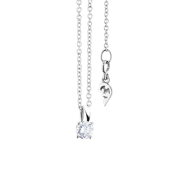 """Collier """"Diamante in Amore"""" 750WG 4-er Krappe, Schlaufe, 1 Diamant Brillant-Schliff 0.20ct TW/vs1, Länge 45.0 cm, Zwischenöse bei 42.0 cm"""