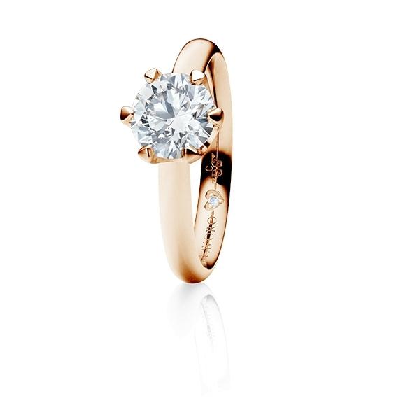 "Ring ""Endless Love"" 750RG 6-er Krappe, 1 Diamant Brillant-Schliff 1.00ct TW/vs1 GIA Zertifikat, 1 Diamant Brillant-Schliff 0.005ct TW/vs1"