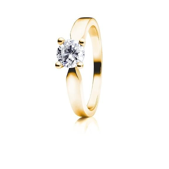 """Ring """"Classico"""" 750GG 4-er Krappe, 1 Diamant Brillant-Schliff 0.10ct TW/si"""