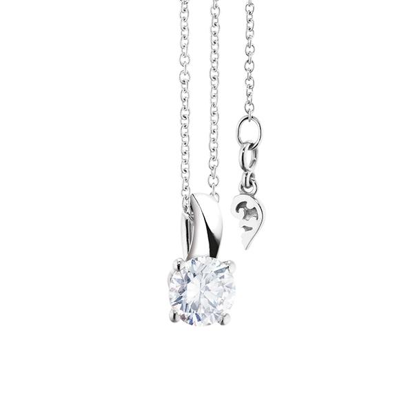 """Collier """"Diamante in Amore"""" 750WG 4-er Krappe, Schlaufe, 1 Diamant Brillant-Schliff 0.60ct TW/vs1 GIA Zertifikat, Länge 45.0 cm, Zwischenöse bei 42.0 cm"""