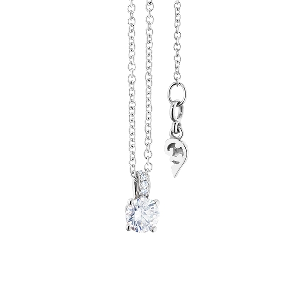 "Collier ""Diamante in Amore"" 750WG 4-er Krappe, Brillantschlaufe, 1 Diamant Brillant-Schliff 0.25ct TW/vs1, 5 Diamanten Brillant-Schliff 0.01ct TW/vs1, Länge 45.0 cm, Zwischenöse bei 42.0 cm"