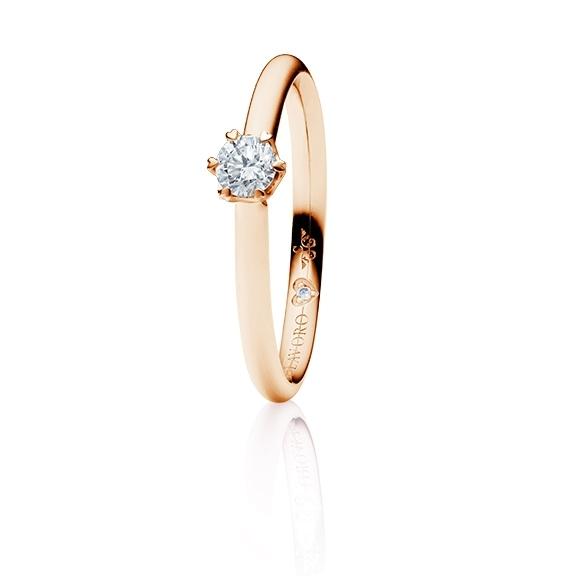 "Ring ""True Love"" 750RG 6-er Krappe mit seitl. WG-Herz, 1 Diamant Brillant-Schliff 0.25ct TW/vs1,  1 Diamant Brillant-Schliff 0.005ct TW/vs1"