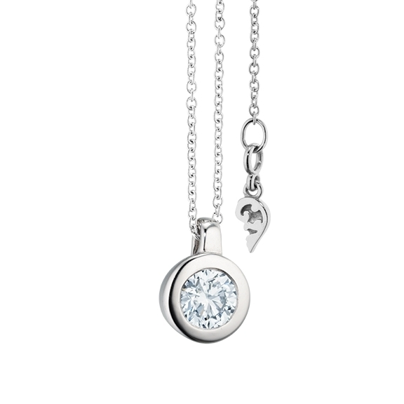 """Collier """"Diamante in Amore"""" 750WG Zargenfassung, Schlaufe, 1 Diamant Brillant-Schliff 0.50ct TW/vs1 GIA Zertifikat, Länge 45.0 cm, Zwischenöse bei 42.0 cm"""