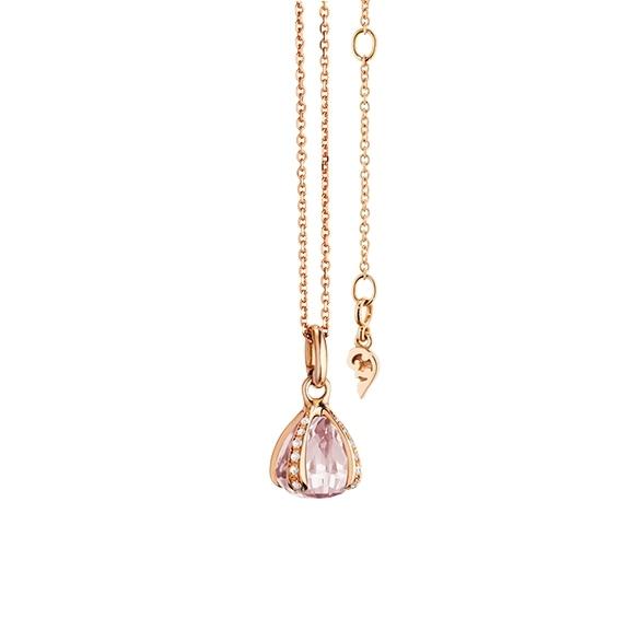 """Anhänger """"Capriccio"""" 750RG, Rosenquarz facettiert Ø 8.0 mm ca. 2.70ct, 24 Diamanten Brillant-Schliff 0.13ct TW/vs"""