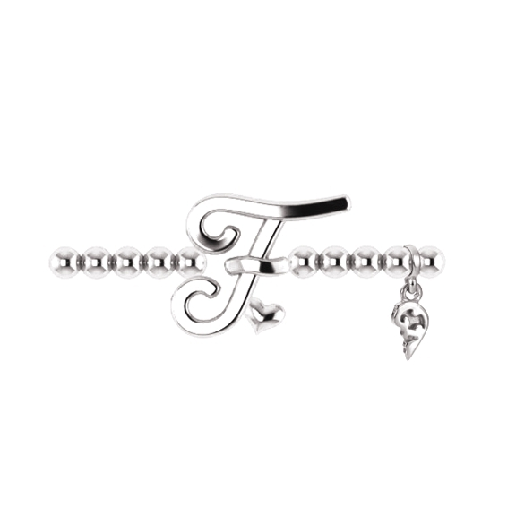 "Armband ""Poesia"" 750WG, Buchstabe ""F"", Innenumfang 17.0 cm"