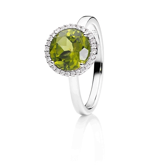 "Ring ""Espressivo"" 750WG, Peridot facettiert Ø 9.0 mm ca. 2.6ct, 28 Diamanten Brillant-Schliff 0.14ct TW/si"