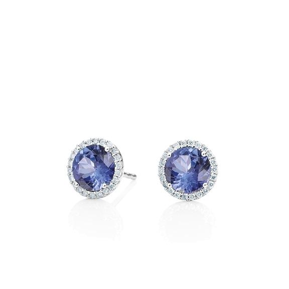 "Ohrstecker ""Espressivo"" 750WG, Tansanit facettiert Ø 6.0 mm ca. 1.60ct, 44 Diamanten Brillant-Schliff 0.12ct TW/si"