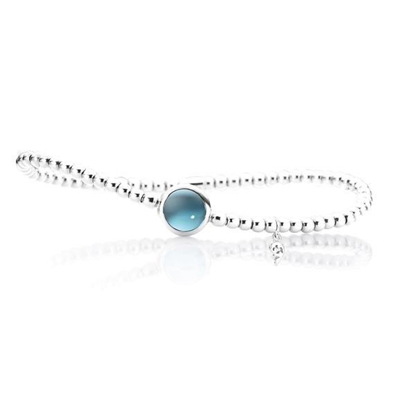 "Armband ""Velluto"" 750WG, Topas sky blue Cabochon Ø 8.0 mm ca. 2.00ct, Innenumfang 17.0 cm"