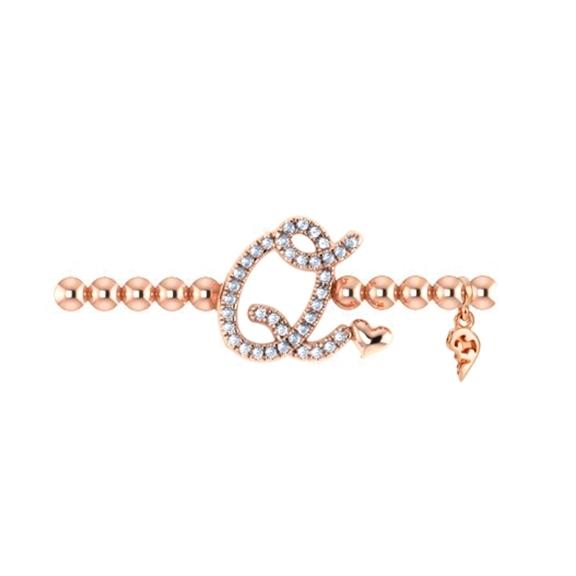 "Armband ""Poesia"" 750RG, Buchstabe ""Q"", 30 Diamanten Brillant-Schliff 0.11ct TW/vs1, Innenumfang 17.0 cm"