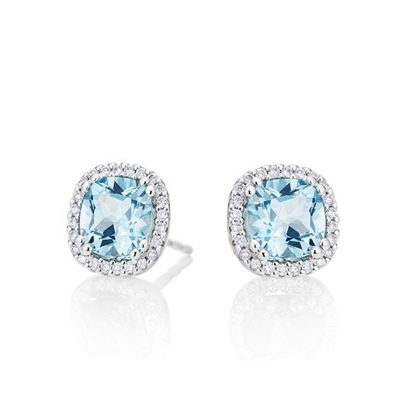 "Ohrstecker ""Espressivo"" 750WG, Topas sky blue antik 6.0 x 6.0 mm ca. 2.40ct, 48 Diamanten Brillant-Schliff 0.14ct TW/si"