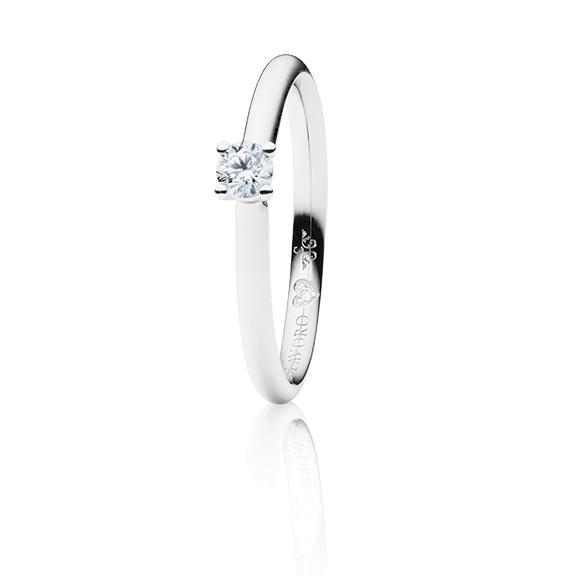 "Ring ""Diamante in Amore"" 750WG 4-er Krappe, 1 Diamant Brillant-Schliff 0.20ct TW/vs1, 1 Diamant Brillant-Schliff 0.005ct TW/vs1"