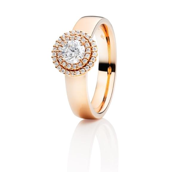 "Ring ""Brillantissimo"" 750RG, 1 Diamant Brillant-Schliff 0.50ct TW/si, 41 Diamanten Brillant-Schliff 0.16ct TW/si"
