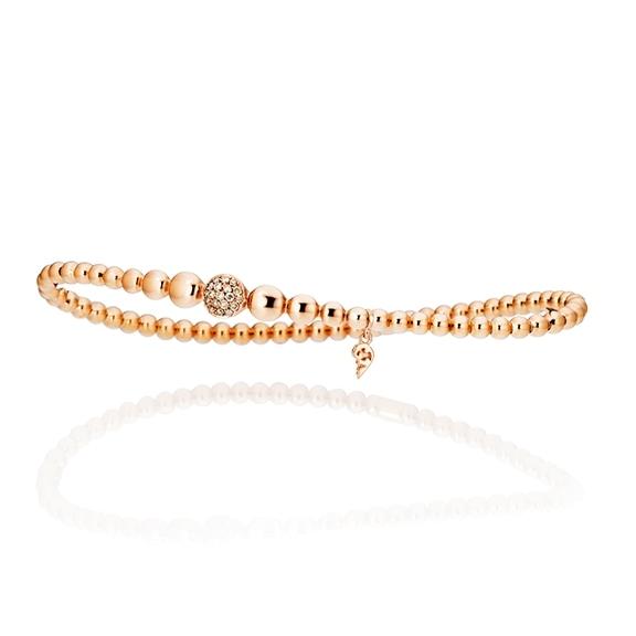"Armband ""Dolcini"" 750RG, 19 Diamanten Brillant-Schliff 0.13ct light brown, Innenumfang 17.0 cm"