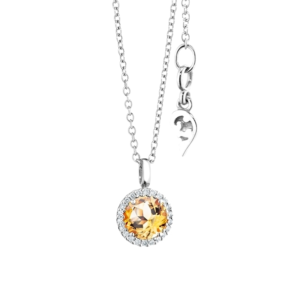"Anhänger ""Espressivo"" 750WG, Citrin medium facettiert Ø 6.0 mm, 22 Diamanten Brillant-Schliff 0.06ct TW/si"