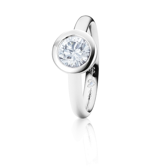 "Ring ""Diamante in Amore"" 750WG Zargenfassung, 1 Diamant Brillant-Schliff 0.75ct TW/vs1 GIA Zertifikat, 1 Diamant Brillant-Schliff 0.005ct TW/vs1"
