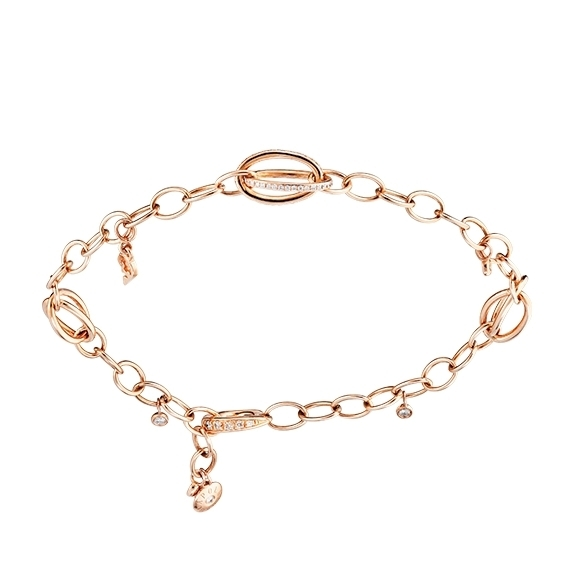 "Armband ""Balloon"" 750RG, 73 Diamanten Brillant-Schliff 0.24ct TW/vs1, Länge 19.0 cm"