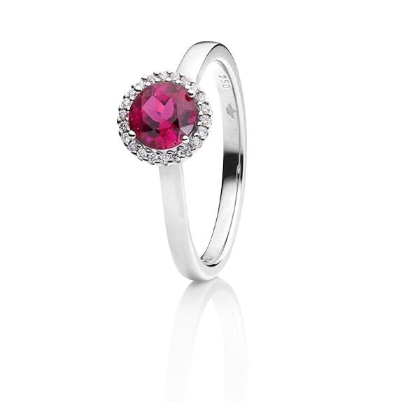 "Ring ""Espressivo"" 750WG, Rubelith facettiert Ø 6.0 mm, 22 Diamanten Brillant-Schliff 0.06ct TW/si"