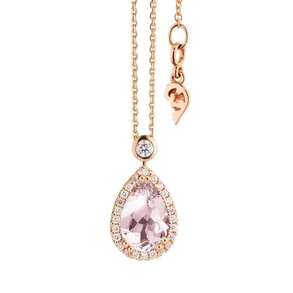 """Collier """"Espressivo"""" 750RG Rosenquarz Tropfen 12.0 x 8.0 mm ca. ???ct, 31 Diamanten Brillant-Schliff 0.22ct TW/si, Länge 45.0 cm Zwischenöse bei 42.0 cm"""