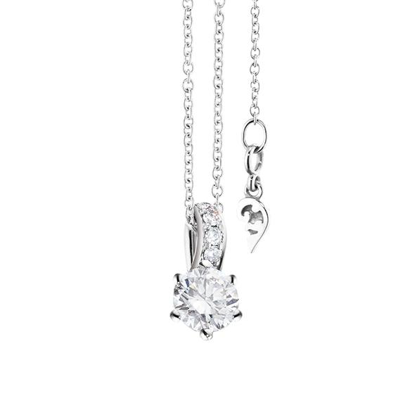 """Collier """"Diamante in Amore"""" 750WG 6-er Krappe, Brillantöse, 1 Diamant Brillant-Schliff 0.50ct TW/vs1 GIA Zertifikat, 5 Diamanten Brillant-Schliff 0.02ct TW/vs1, Länge 45.0 cm, Zwischenöse bei 42.0 cm"""