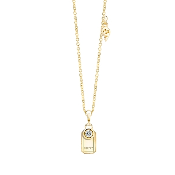 """Collier """"Poesia"""" 750GG, mit einem personalisierbaren rechteckigen Tag und zwei beweglichen Diamanten 0.04ct TW/vs1, Ankerkette Ø 0.9 mm, Länge 41.0 cm, Zwischenöse bei 38.0 cm"""