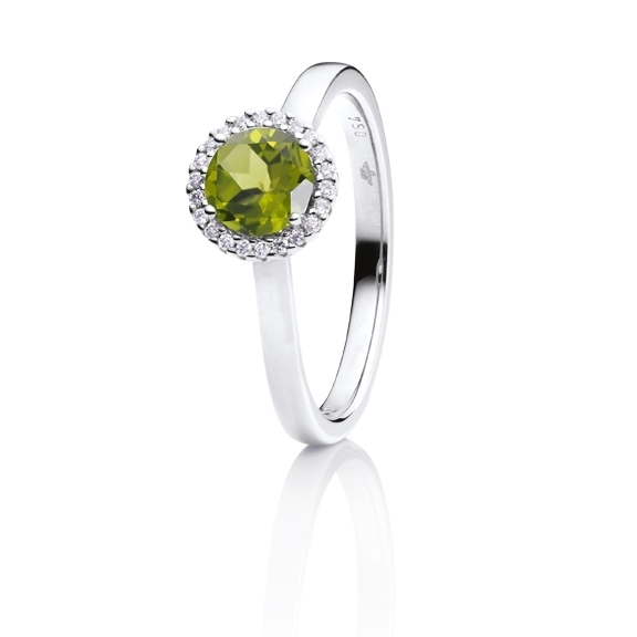 "Ring ""Espressivo"" 750WG, Peridot facettiert Ø 6.0 mm, 22 Diamanten Brillant-Schliff 0.06ct TW/si"