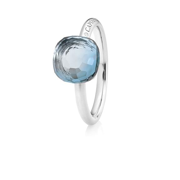 "Ring ""Happy Holi"" 750WG, Topas sky blue Cabochon facettiert  9.0 x 9.0 mm ca. 5.40ct, 1 Diamant Brillant-Schliff 0.004ct TW/vs1"