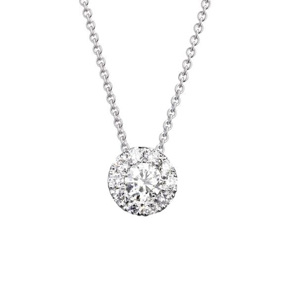 "Anhänger ""Brillantissimo 2"" 750WG, 1 Diamant Brillant-Schliff 0.33ct TW/vs, 10 Diamanten Brillant-Schliff 0.27ct TW/vs"
