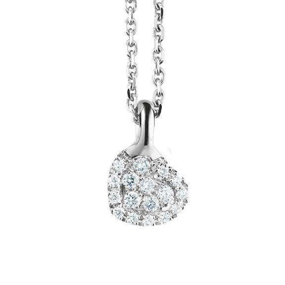 "Anhänger ""Dolcini"" 750WG, 17 Diamanten Brillant-Schliff 0.08ct TW/vs"