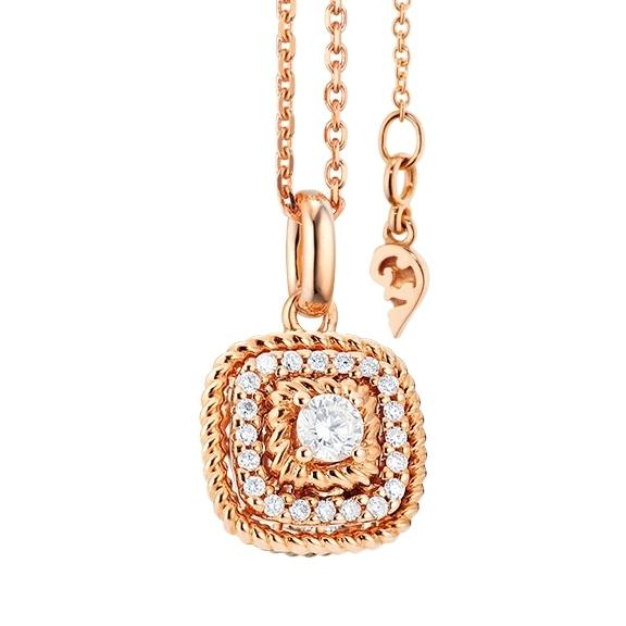 """Anhänger """"Amore mio"""" 750RG, 21 Diamanten Brillant-Schliff 0.18ct TW/si"""