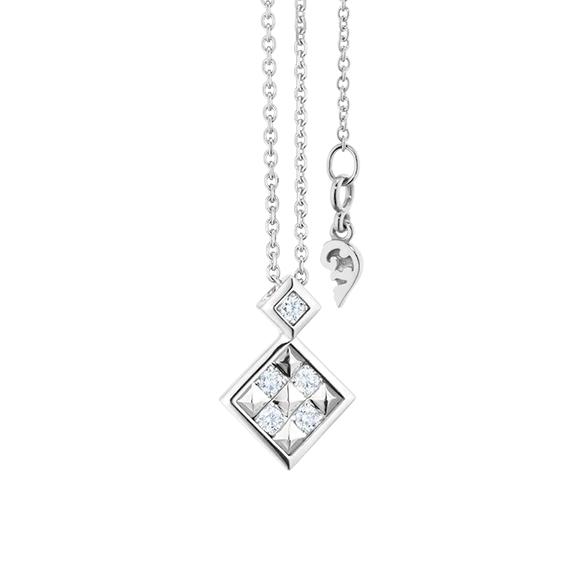 """Collier """"Manhattan"""" 750WG, 5 Diamanten Brillant-Schliff 0.11ct TW/vs1, Länge 45.0 cm, Zwischenöse bei 42.0 cm"""