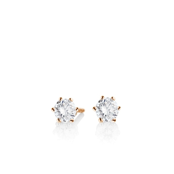 "Ohrstecker ""Diamante in Amore"" 750RG 6er Krappe, 2 Diamanten Brillant-Schliff á 0.25ct TW/vs1"