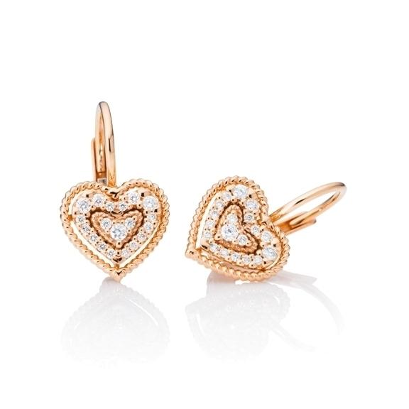 """Ohrhänger """"Valentine"""" 750RG, 38 Diamanten Brillant-Schliff 0.18ct TW/si"""