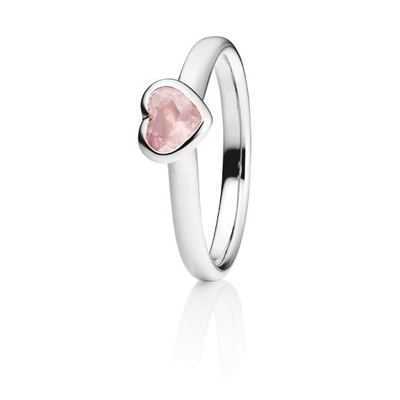 "Ring ""Pure Love"" 750WG Herz, Rosenquarz facettiert 5.6 x 4.8 mm ca. 0.45ct"