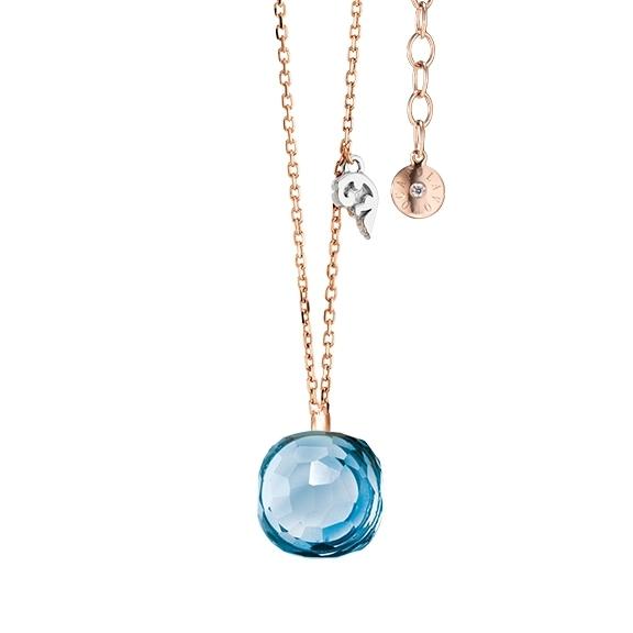 """Collier """"Happy Holi"""" 750RG, Topas sky blue Cabochon  9.0 x 9.0 mm facettiert ca. 5.30ct, Länge 45.0 cm, Zwischenöse bei 42.0 cm"""