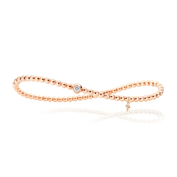 "Armband ""Flessibile"" 750RG, 1 Diamant Brillant-Schliff 0.10ct TW/vs, Innenumfang 17.0 cm"