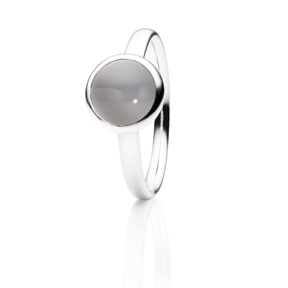 "Ring ""Velluto"" 750WG, Mondstein grau hell Cabochon Ø 8.0 mm ca. 2.00ct"