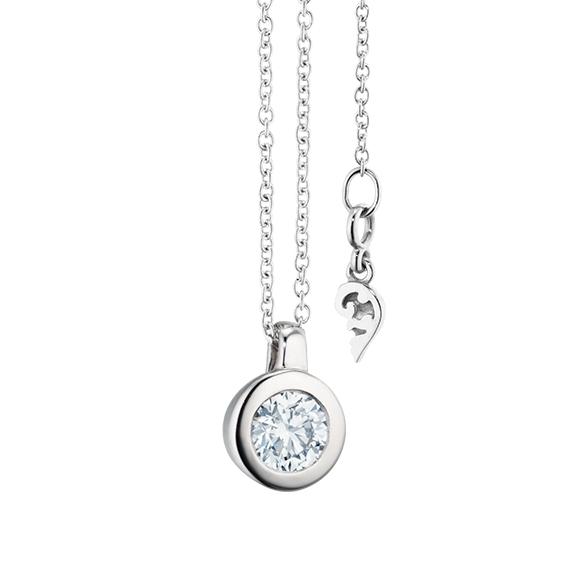 """Collier """"Diamante in Amore"""" 750WG Zargenfassung, Schlaufe, 1 Diamant Brillant-Schliff 0.33ct TW/vs1 GIA Zertifikat , Länge 45.0 cm, Zwischenöse bei 42.0 cm"""