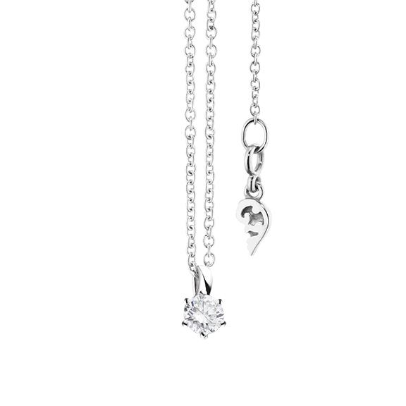 """Collier """"Diamante in Amore"""" 750WG 6-er Krappe, Schlaufe, 1 Diamant Brillant-Schliff 0.15ct TW/vs1, Länge 45.0 cm, Zwischenöse bei 42.0 cm"""