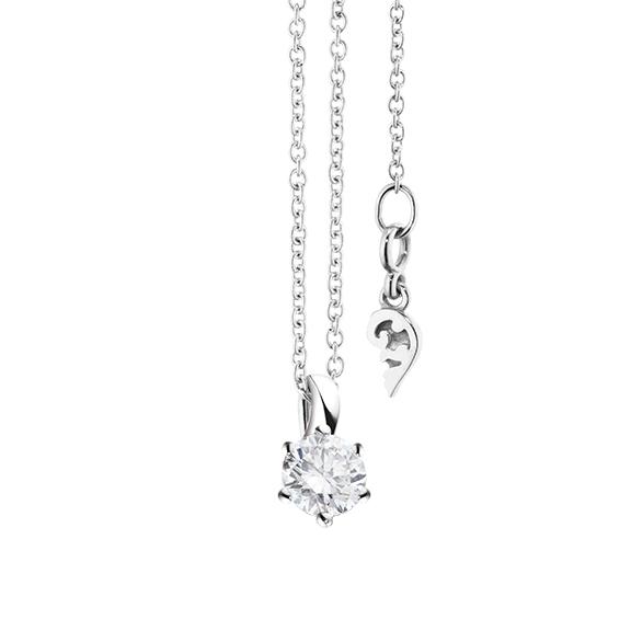"""Collier """"Diamante in Amore"""" 750WG 6-er Krappe, Schlaufe, 1 Diamant Brillant-Schliff 0.30ct TW/vs1, Länge 45.0 cm, Zwischenöse bei 42.0 cm"""