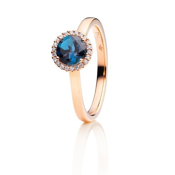 "Ring ""Espressivo"" 750RG, Topas London blue facettiert Ø 6.0 mm, 22 Diamanten Brillant-Schliff 0.08ct TW/si"