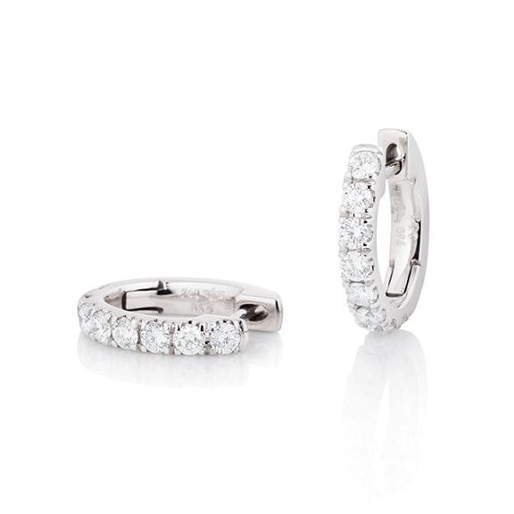 "Ohrcreolen ""Diamante in Amore"" 750WG, 16 Diamanten Brillant-Schliff 0.64ct TW/vs1"
