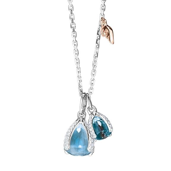 "Collier ""Capriccio "" 750WG, 1 Topas sky blue facettiert Ø 7.9 mm, 1 Topas London blue facettiert Ø 5.8 mm, 61 Diamanten Brillant-Schliff 0.28ct TW/vs1, 45.0 cm"